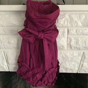 Plum colored strapless cocktail dress